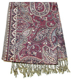 Hand Made Pashmina Shawl Scarf Flower in Maroon