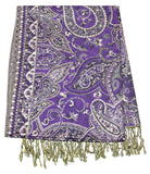 Hand Made Pashmina Shawl Scarf Flower in Grape