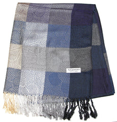 Fair Trade Hand Made Nepal Pashmina Scarf Shawl Blue