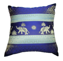 Thai Silk Elephant Pillow Cases in Blue