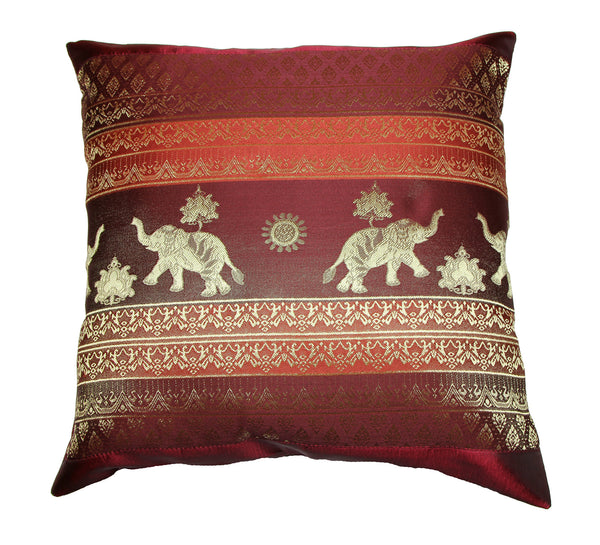 Thai Silk Elephant Pillow Cases in Maroon