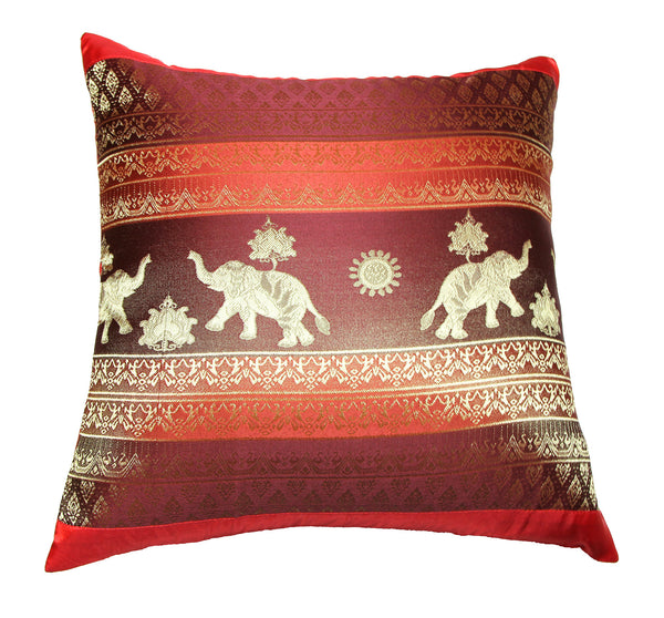 Thai Silk Elephant Pillow Cases in Red
