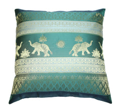 Thai Silk Elephant Pillow Cases in Dark Teal