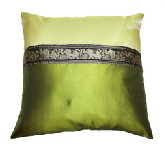 Thai Silk Elephant Pillow Cases in Dark Green