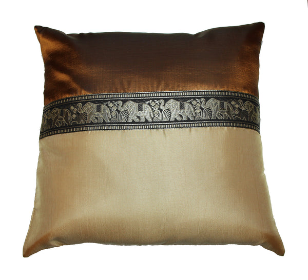 Thai Silk Elephant Pillow Cases in Brown
