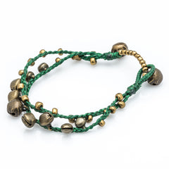 Brass Bell Waxed Cotton Bracelets in Green