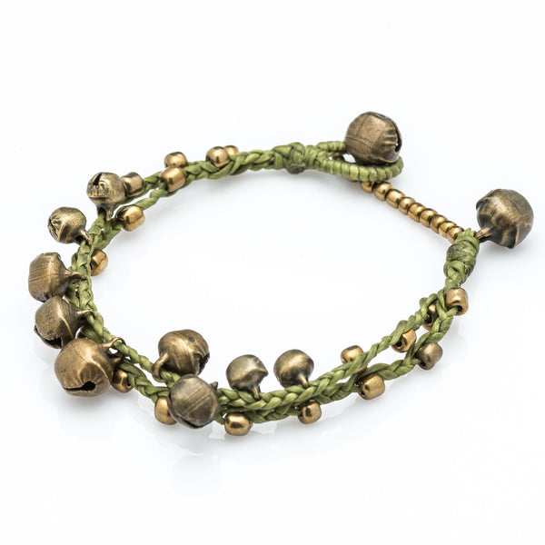 Brass Bell Waxed Cotton Bracelets in Lime