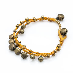 Brass Bell Waxed Cotton Bracelets in Mustard