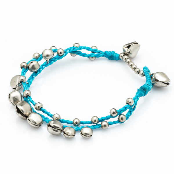Silver Bell Waxed Cotton Bracelets in Blue