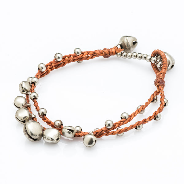 Silver Bell Waxed Cotton Bracelets in Copper