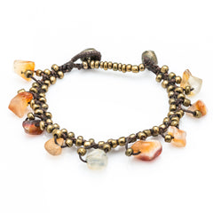 Brass Bead with Orange Stone Waxed Cotton Bracelets