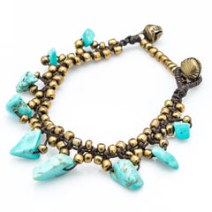 Brass Bead with Turquoise Stone Waxed Cotton Bracelets