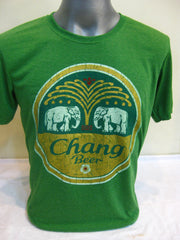 Super Soft Cotton Vintage Distressed Old School BEER CHANG Green
