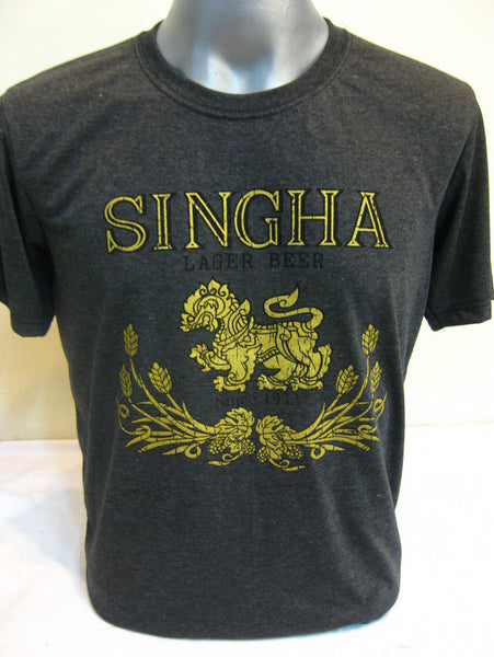 Super Soft Cotton Vintage Distressed Old School BEER SINGHA THAI Black
