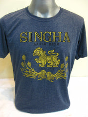 Super Soft Cotton Vintage Distressed Old School BEER SINGHA THAI Denim Blue
