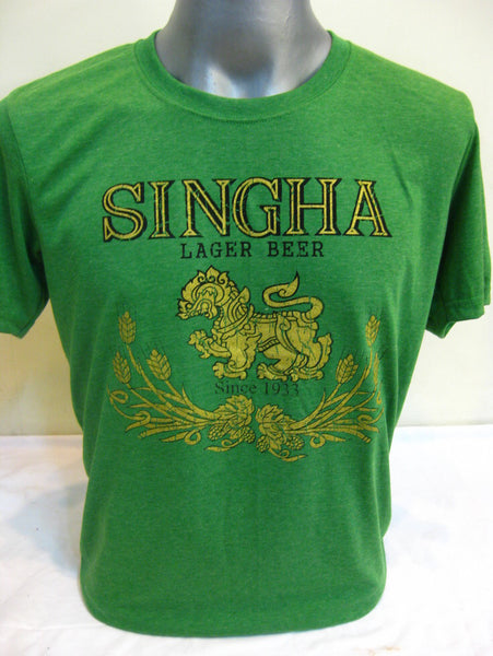 Super Soft Cotton Vintage Distressed Old School BEER SINGHA THAI Green