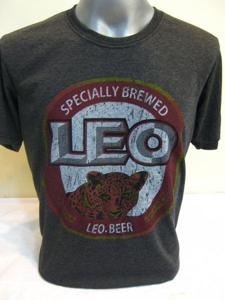 Super Soft Cotton Vintage Distressed Old School BEER LEO THAI Black