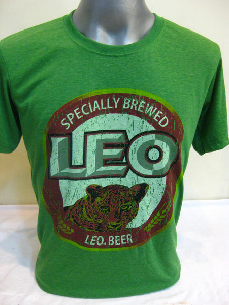 Super Soft Cotton Vintage Distressed Old School BEER LEO THAI Green