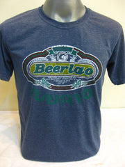 Super Soft Cotton Vintage Distressed Old School BEER LAO Denim Blue
