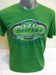 Super Soft Cotton Vintage Distressed Old School BEER LAO Green