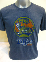 Super Soft Cotton Vintage Distressed Old School BEER TIGER Denim Blue