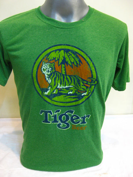 Super Soft Cotton Vintage Distressed Old School BEER TIGER Green