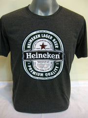 Super Soft Vintage Distressed Heineken Mens T-shirt in Black