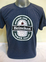 Super Soft Vintage Distressed Heineken Mens T-shirt in Denim Blue