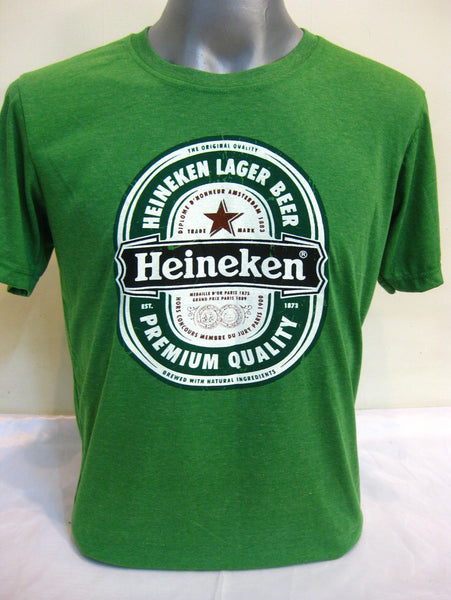 Super Soft Vintage Distressed Heineken Mens T-shirt in Green