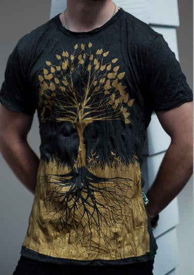 Sure Design Mens T-Shirts Tree of Life in Gold on Black