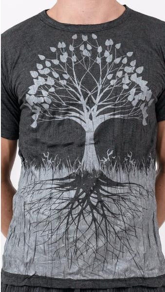 Sure Design Mens T-Shirts Tree of Life in Silver on Black