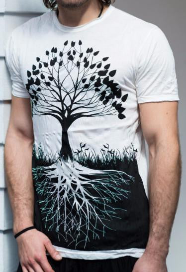 Sure Design Mens T-Shirts Tree of Life in White