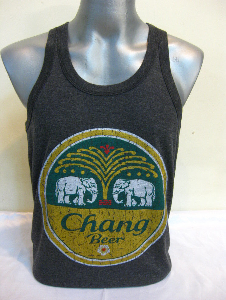 Super Soft Vintage Distressed Chang Beer Mens Tank Top in Black – Mystery  Buddha e5245c82c