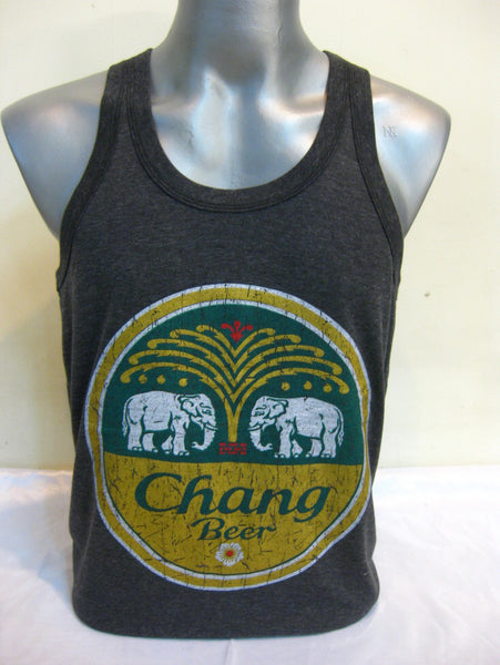 Super Soft Vintage Distressed Chang Beer Mens Tank Top in Black
