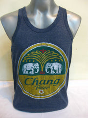 Super Soft Vintage Distressed Chang Beer Mens Tank Top in Denim Blue