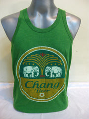 Super Soft Vintage Distressed Chang Beer Mens Tank Top in Green