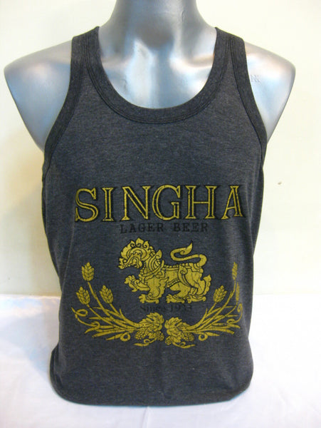 Super Soft Vintage Distressed Singha Beer Mens Tank Top in Black