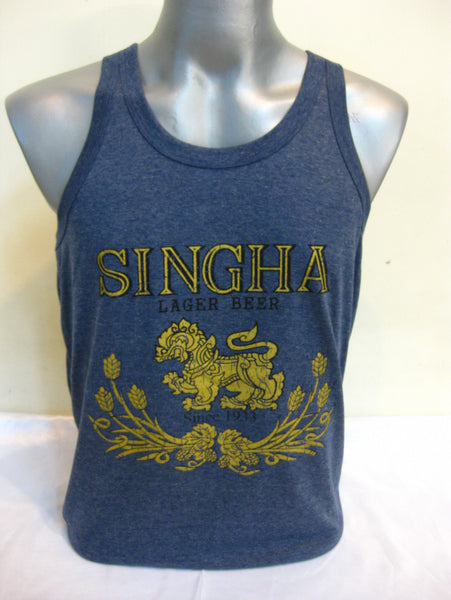 Super Soft Vintage Distressed Singha Beer Mens Tank Top in Denim Blue