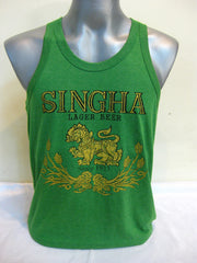 Super Soft Vintage Distressed Singha Beer Mens Tank Top in Green