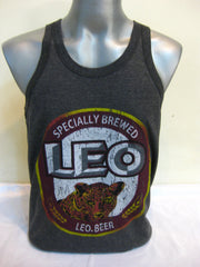 Super Soft Vintage Distressed Leo Beer Mens Tank Top in Black