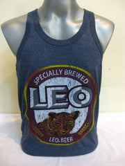 Super Soft Vintage Distressed Leo Beer Mens Tank Top in Denim Blue