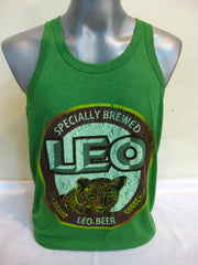 Super Soft Vintage Distressed Leo Beer Mens Tank Top in Green