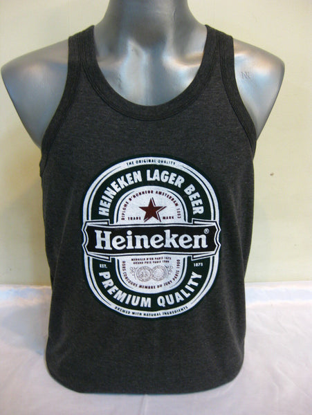 Super Soft Vintage Distressed Heineken Mens Tank Top in Black