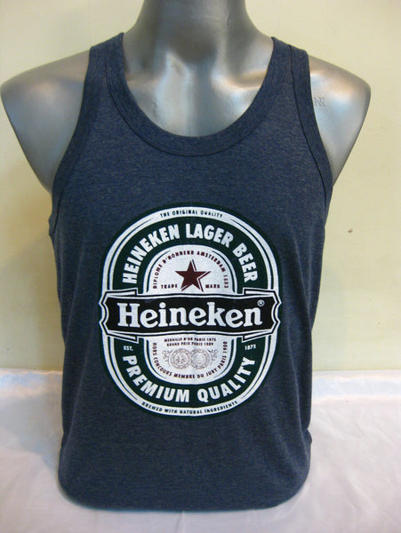 Super Soft Vintage Distressed Heineken Mens Tank Top in Denim Blue