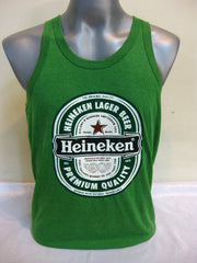 Super Soft Vintage Distressed Heineken Mens Tank Top in Green