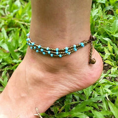 Hand Made Fair Trade Anklet Three Strand Brass Beads Turquoise