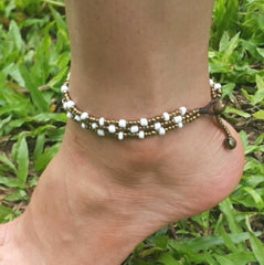 Hand Made Fair Trade Anklet Three Strand Brass Beads White