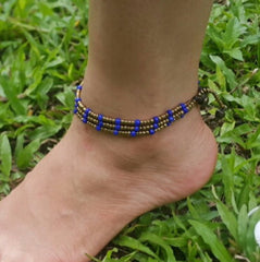 Hand Made Fair Trade Anklet Three Strand Brass Beads Purple