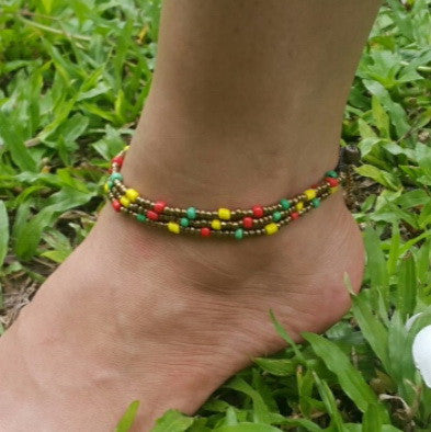 Hand Made Fair Trade Anklet Three Strand Brass Beads Multi
