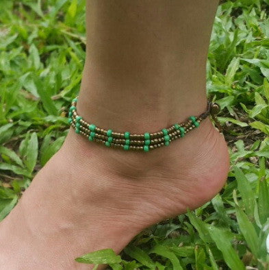 Hand Made Fair Trade Anklet Three Strand Brass Beads Green